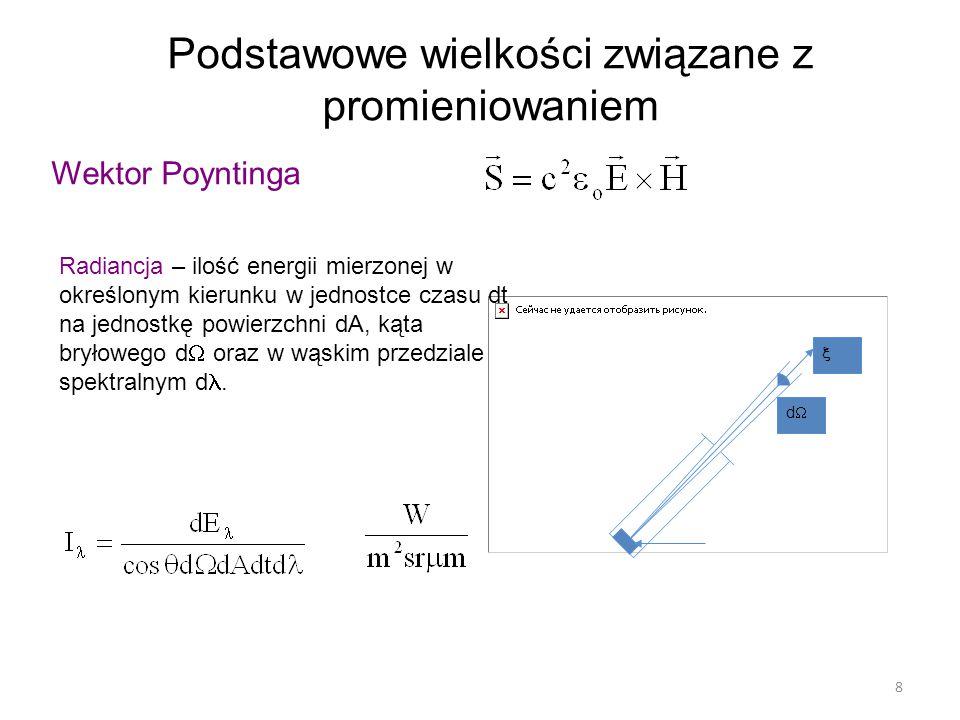 8 Podstawowe wielkości związane z promieniowaniem Wektor Poyntinga  dd Radiancja – ilość energii mierzonej w określonym kierunku w jednostce czasu dt na jednostkę powierzchni dA, kąta bryłowego d  oraz w wąskim przedziale spektralnym d.