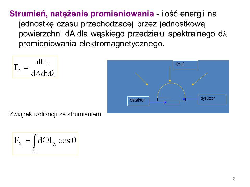 9 Strumień, natężenie promieniowania - ilość energii na jednostkę czasu przechodzącej przez jednostkową powierzchni dA dla wąskiego przedziału spektralnego d promieniowania elektromagnetycznego.