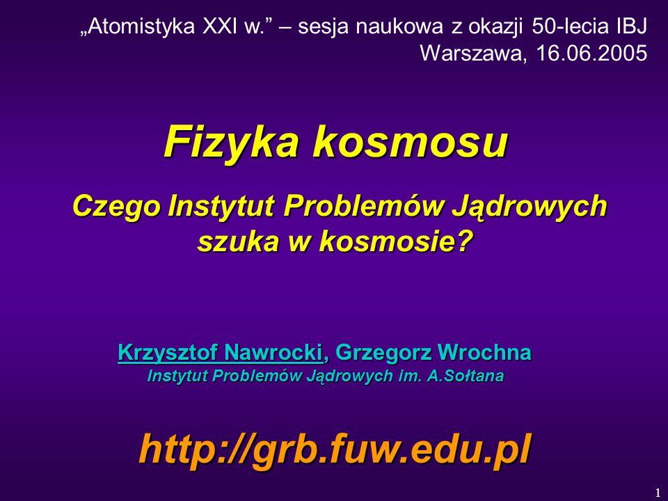 1 Fizyka kosmosu Czego Instytut Problemów Jądrowych szuka w kosmosie.