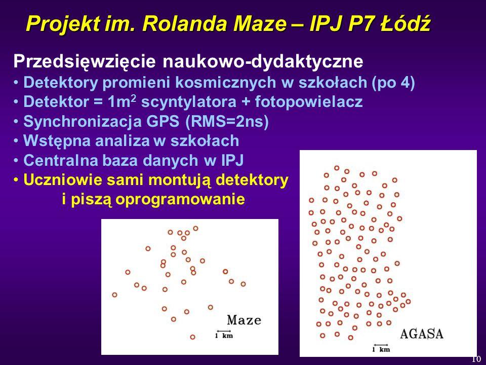 10 Projekt im. Rolanda Maze – IPJ P7 Łódź Przedsięwzięcie naukowo-dydaktyczne Detektory promieni kosmicznych w szkołach (po 4) Detektor = 1m 2 scyntyl