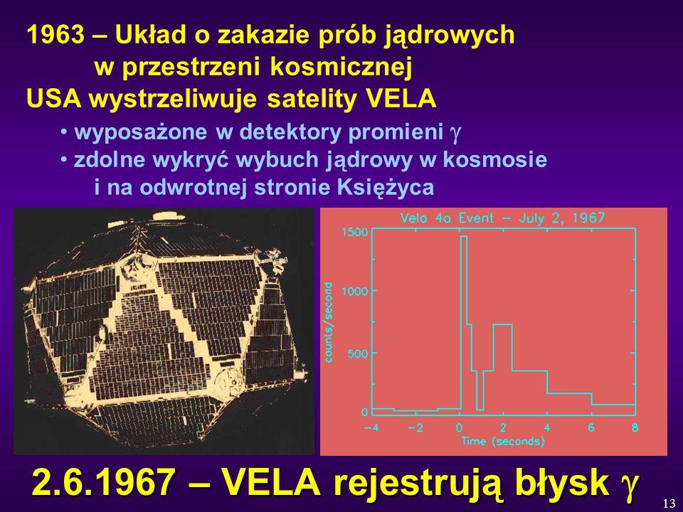 13 2.6.1967 – VELA rejestrują błysk  1963 – Układ o zakazie prób jądrowych w przestrzeni kosmicznej USA wystrzeliwuje satelity VELA wyposażone w detektory promieni  zdolne wykryć wybuch jądrowy w kosmosie i na odwrotnej stronie Księżyca