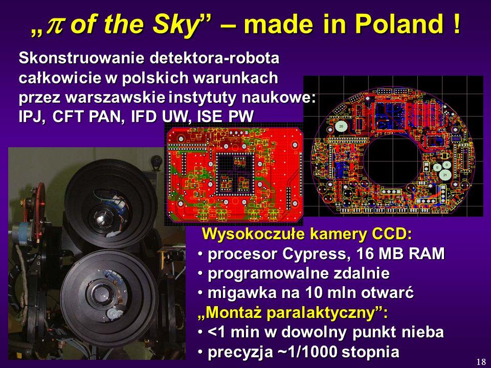 """18 """"  of the Sky"""" – made in Poland ! Wysokoczułe kamery CCD: Wysokoczułe kamery CCD: procesor Cypress, 16 MB RAM procesor Cypress, 16 MB RAM programo"""