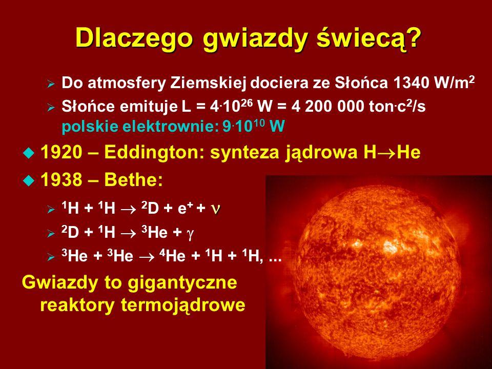 2 Dlaczego gwiazdy świecą?  Do atmosfery Ziemskiej dociera ze Słońca 1340 W/m 2  Słońce emituje L = 4. 10 26 W = 4 200 000 ton. c 2 /s polskie elekt