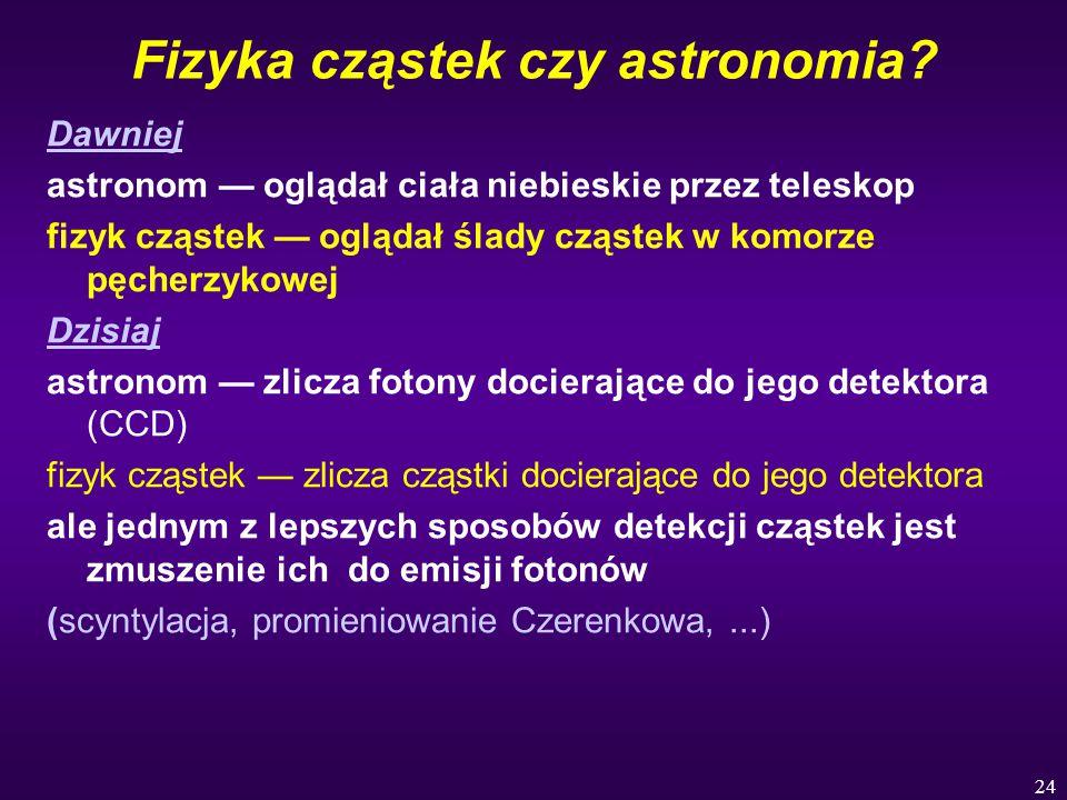 24 Fizyka cząstek czy astronomia? Dawniej astronom — oglądał ciała niebieskie przez teleskop fizyk cząstek — oglądał ślady cząstek w komorze pęcherzyk