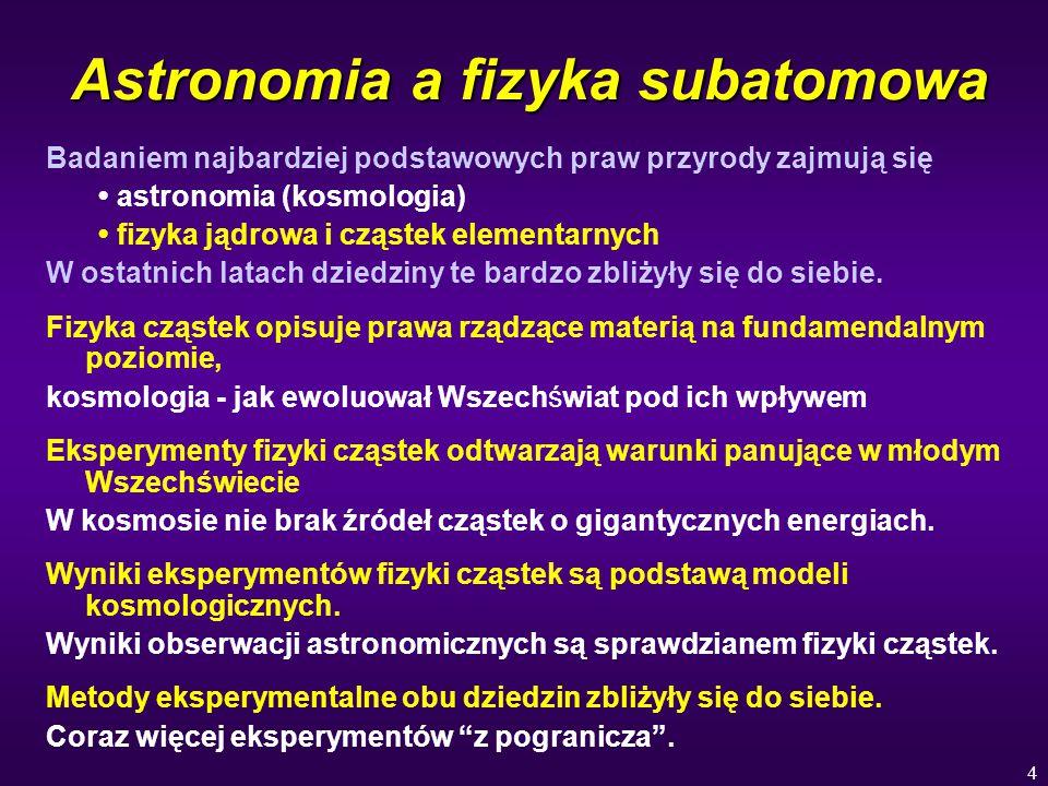 4 Astronomia a fizyka subatomowa Badaniem najbardziej podstawowych praw przyrody zajmują się astronomia (kosmologia) fizyka jądrowa i cząstek elementarnych W ostatnich latach dziedziny te bardzo zbliżyły się do siebie.