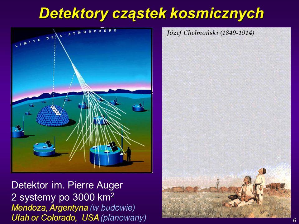 6 Detektory cząstek kosmicznych Józef Chełmoński (1849-1914) Detektor im. Pierre Auger 2 systemy po 3000 km 2 Mendoza, Argentyna (w budowie) Utah or C
