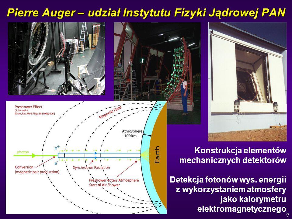 7 Pierre Auger – udział Instytutu Fizyki Jądrowej PAN Konstrukcja elementów mechanicznych detektorów Detekcja fotonów wys. energii z wykorzystaniem at