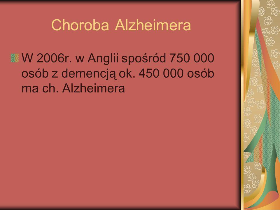 Choroba Alzheimera W 2006r. w Anglii spośród 750 000 osób z demencją ok. 450 000 osób ma ch. Alzheimera