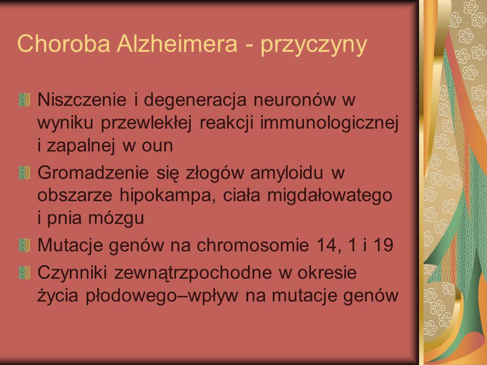 Choroba Alzheimera - przyczyny Niszczenie i degeneracja neuronów w wyniku przewlekłej reakcji immunologicznej i zapalnej w oun Gromadzenie się złogów