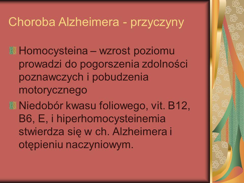 Choroba Alzheimera - przyczyny Homocysteina – wzrost poziomu prowadzi do pogorszenia zdolności poznawczych i pobudzenia motorycznego Niedobór kwasu fo