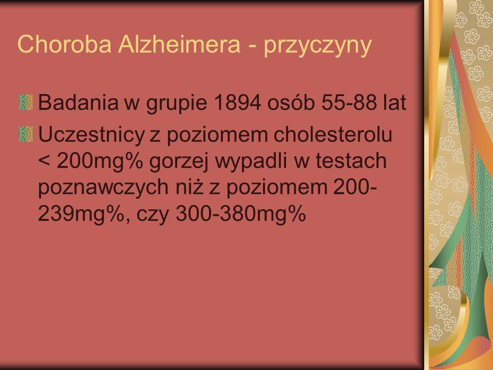 Choroba Alzheimera - przyczyny Badania w grupie 1894 osób 55-88 lat Uczestnicy z poziomem cholesterolu < 200mg% gorzej wypadli w testach poznawczych n