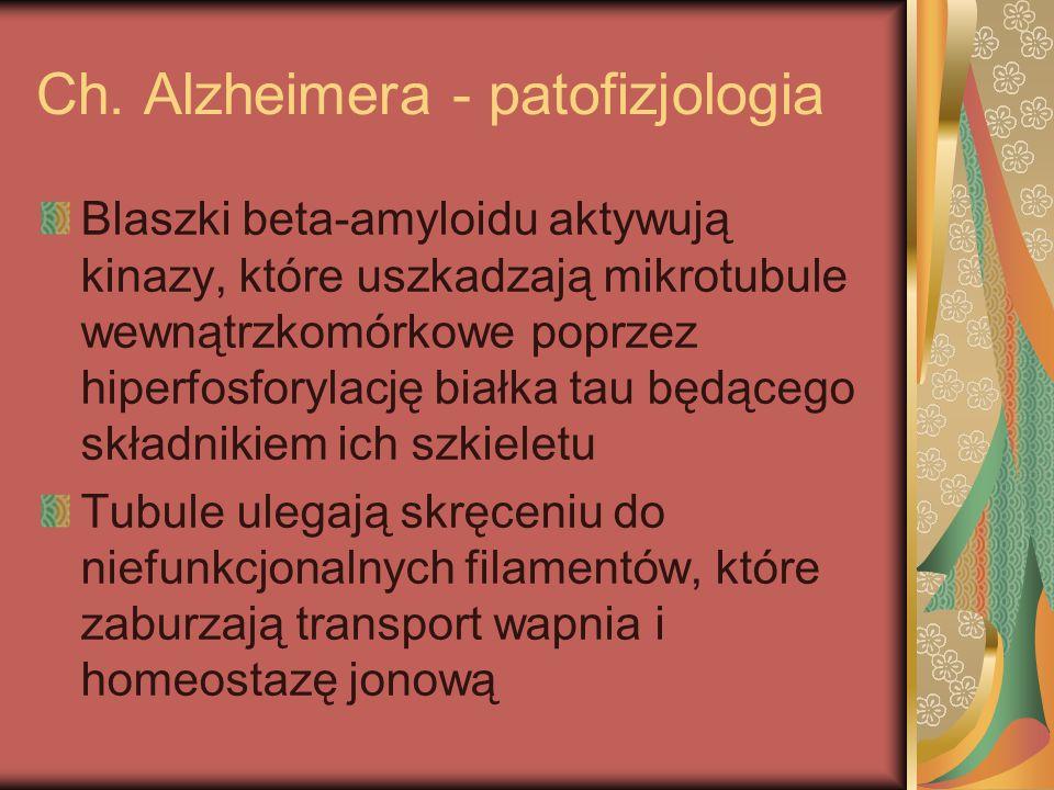 Ch. Alzheimera - patofizjologia Blaszki beta-amyloidu aktywują kinazy, które uszkadzają mikrotubule wewnątrzkomórkowe poprzez hiperfosforylację białka