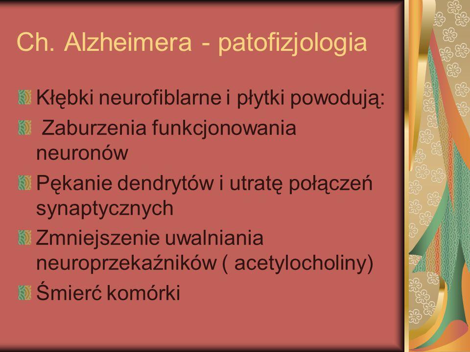 Ch. Alzheimera - patofizjologia Kłębki neurofiblarne i płytki powodują: Zaburzenia funkcjonowania neuronów Pękanie dendrytów i utratę połączeń synapty