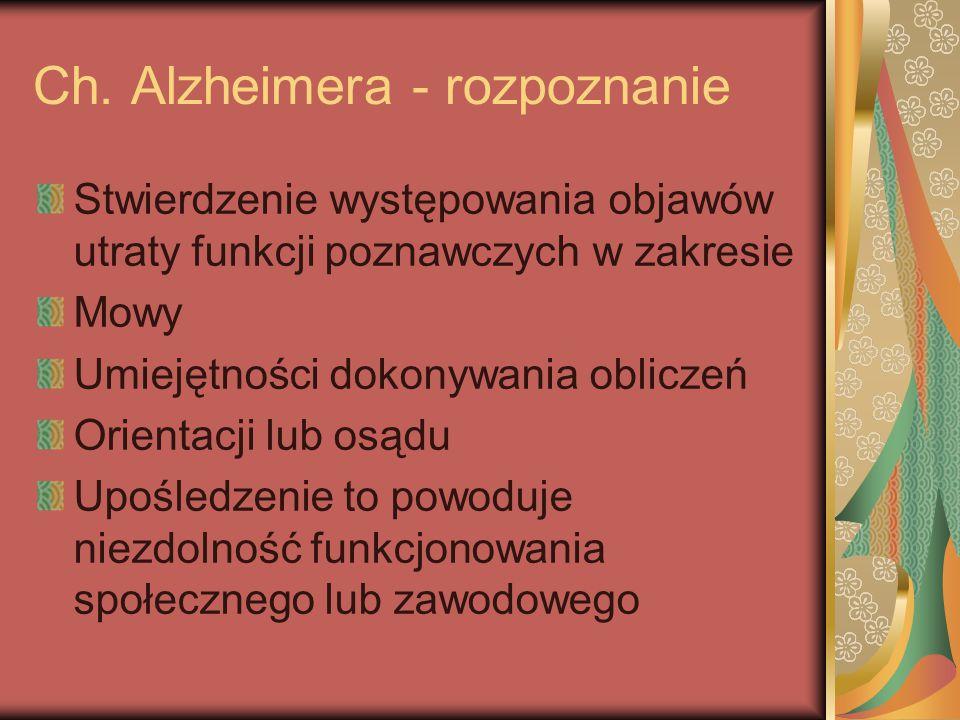 Ch. Alzheimera - rozpoznanie Stwierdzenie występowania objawów utraty funkcji poznawczych w zakresie Mowy Umiejętności dokonywania obliczeń Orientacji