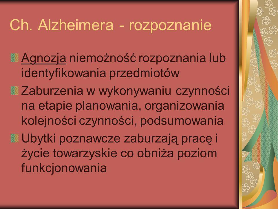 Ch. Alzheimera - rozpoznanie Agnozja niemożność rozpoznania lub identyfikowania przedmiotów Zaburzenia w wykonywaniu czynności na etapie planowania, o
