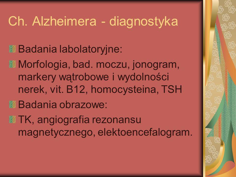 Ch. Alzheimera - diagnostyka Badania labolatoryjne: Morfologia, bad. moczu, jonogram, markery wątrobowe i wydolności nerek, vit. B12, homocysteina, TS