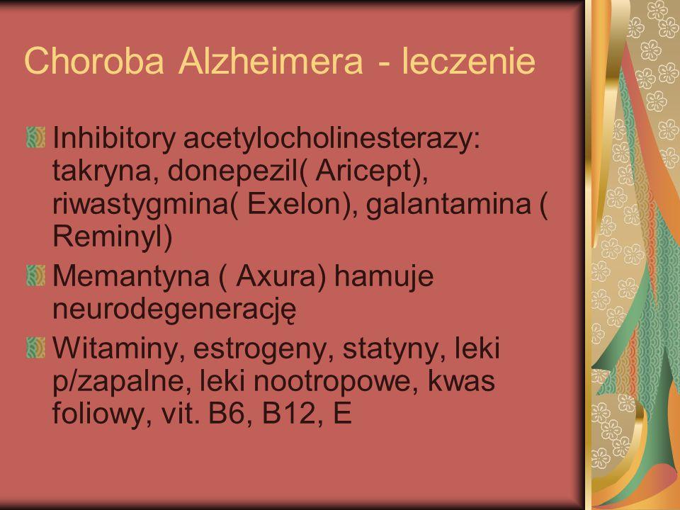 Choroba Alzheimera - leczenie Inhibitory acetylocholinesterazy: takryna, donepezil( Aricept), riwastygmina( Exelon), galantamina ( Reminyl) Memantyna