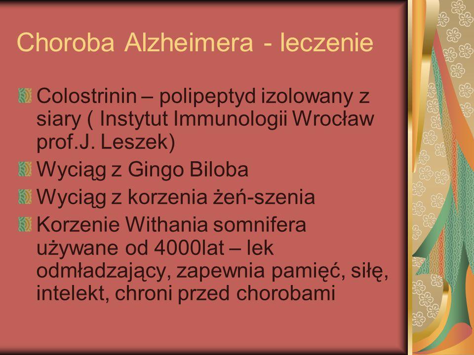 Choroba Alzheimera - leczenie Colostrinin – polipeptyd izolowany z siary ( Instytut Immunologii Wrocław prof.J. Leszek) Wyciąg z Gingo Biloba Wyciąg z