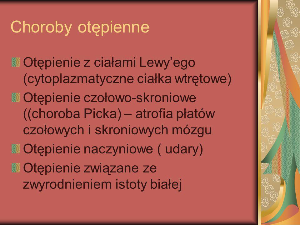 Choroba Alzheimera - leczenie Inhibitory acetylocholinesterazy: takryna, donepezil( Aricept), riwastygmina( Exelon), galantamina ( Reminyl) Memantyna ( Axura) hamuje neurodegenerację Witaminy, estrogeny, statyny, leki p/zapalne, leki nootropowe, kwas foliowy, vit.