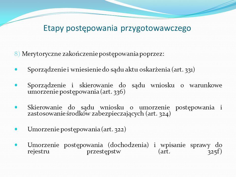 Etapy postępowania przygotowawczego 9) Niemerytoryczne zakończenie postępowania przez jego zawieszenie (art.