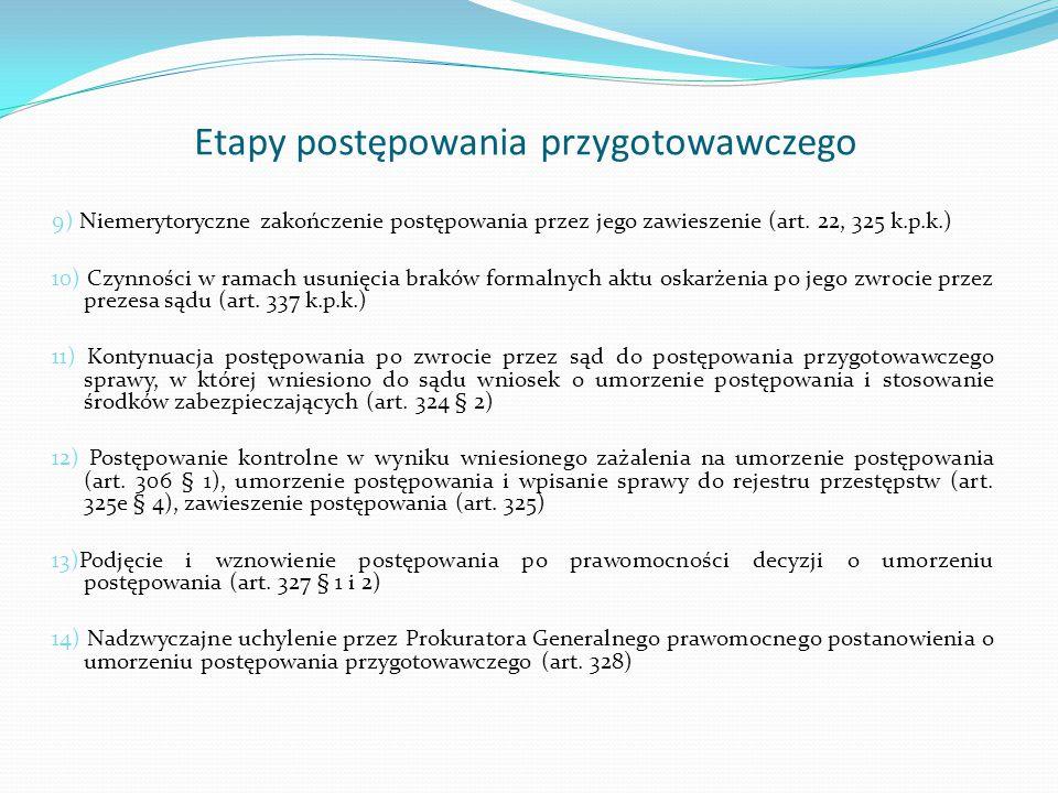 Etapy postępowania przygotowawczego 9) Niemerytoryczne zakończenie postępowania przez jego zawieszenie (art. 22, 325 k.p.k.) 10) Czynności w ramach us