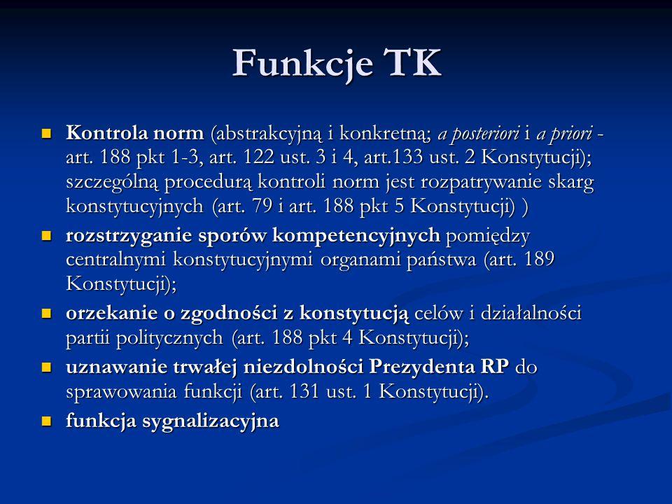 Funkcje TK Kontrola norm (abstrakcyjną i konkretną; a posteriori i a priori - art. 188 pkt 1-3, art. 122 ust. 3 i 4, art.133 ust. 2 Konstytucji); szcz