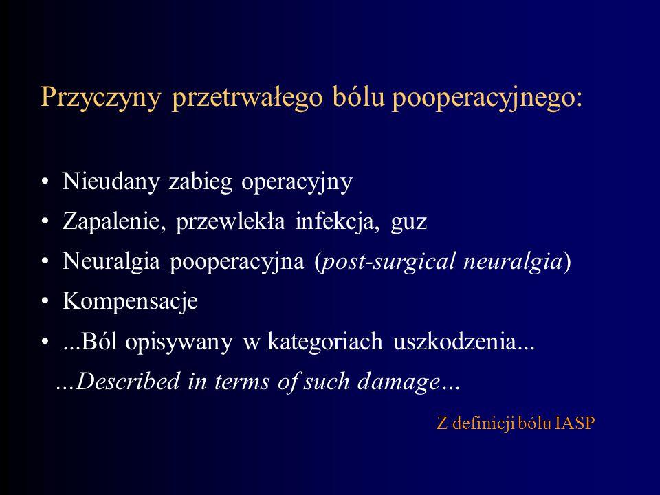 Przyczyny przetrwałego bólu pooperacyjnego: Nieudany zabieg operacyjny Zapalenie, przewlekła infekcja, guz Neuralgia pooperacyjna (post-surgical neura