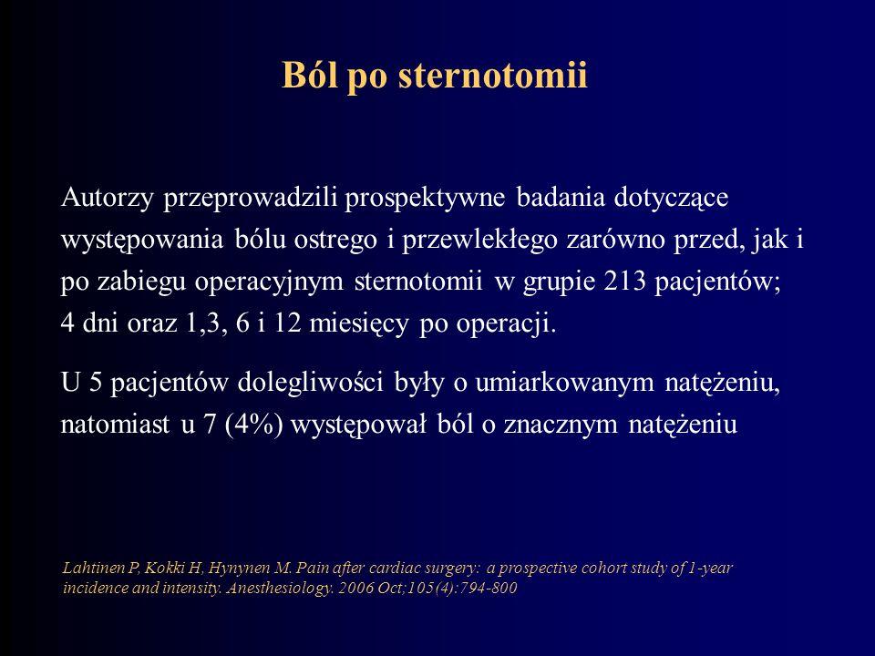 Autorzy przeprowadzili prospektywne badania dotyczące występowania bólu ostrego i przewlekłego zarówno przed, jak i po zabiegu operacyjnym sternotomii