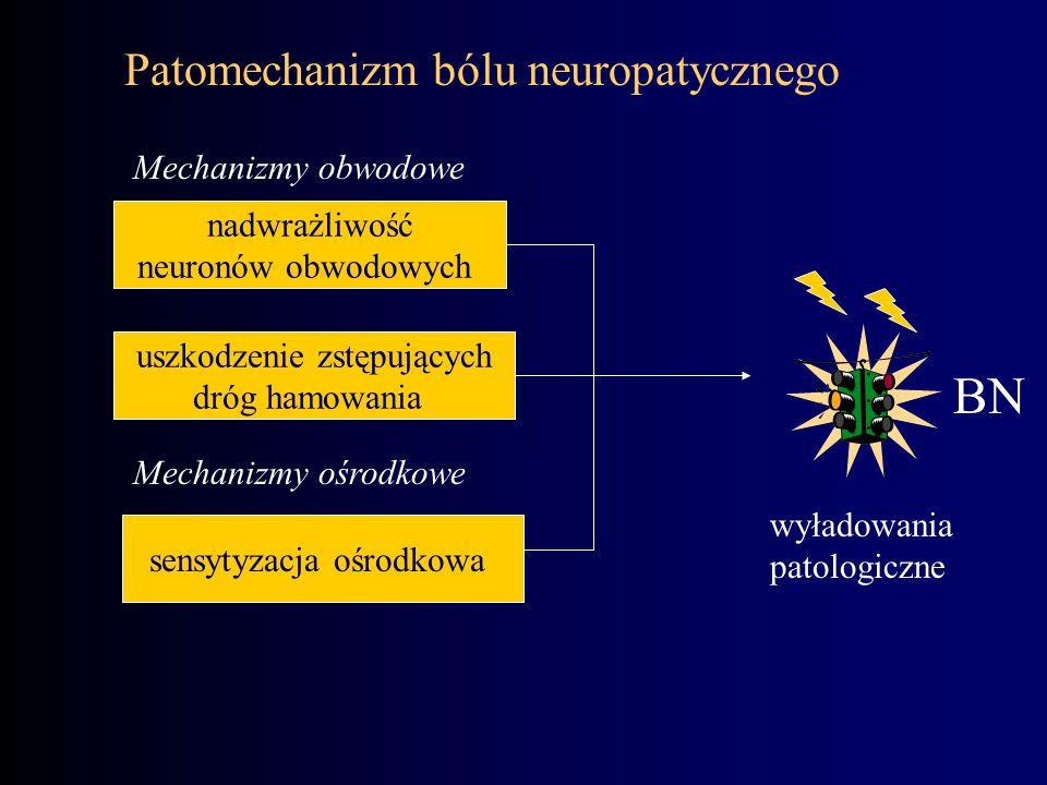 Patomechanizm bólu neuropatycznego nadwrażliwość neuronów obwodowych Mechanizmy obwodowe uszkodzenie zstępujących dróg hamowania sensytyzacja ośrodkow