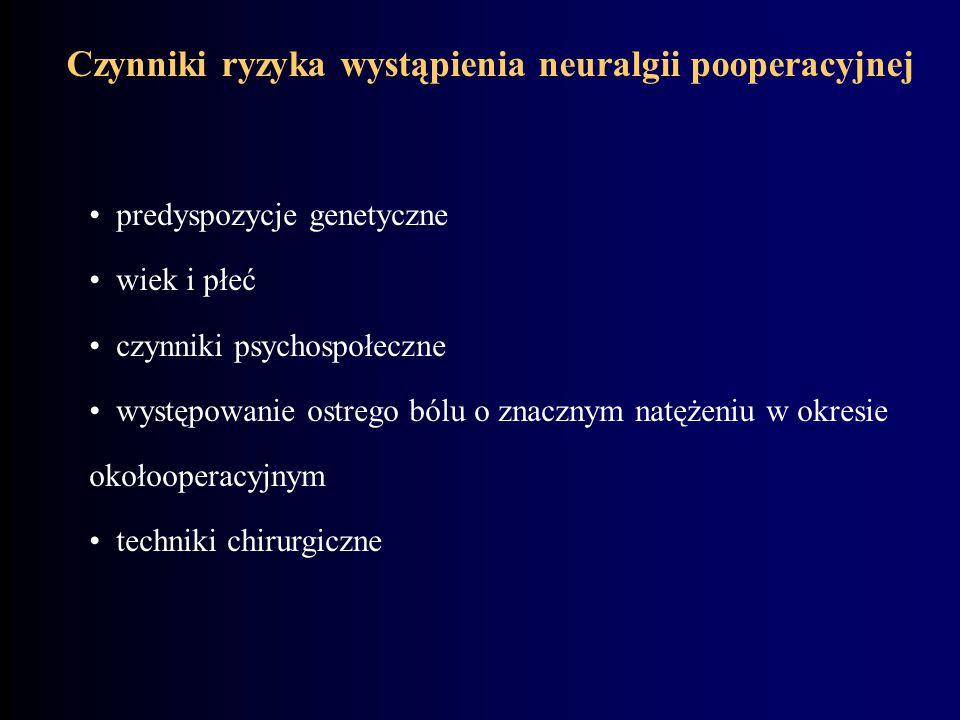 Czynniki ryzyka wystąpienia neuralgii pooperacyjnej predyspozycje genetyczne wiek i płeć czynniki psychospołeczne występowanie ostrego bólu o znacznym