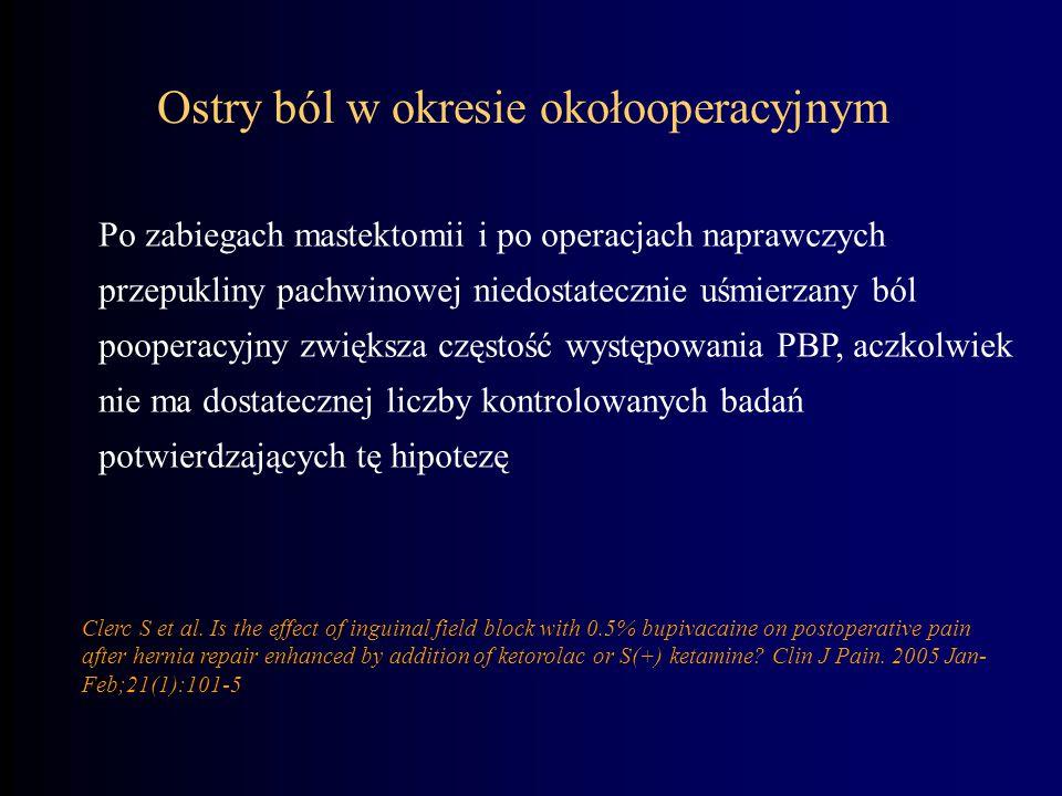 Ostry ból w okresie okołooperacyjnym Po zabiegach mastektomii i po operacjach naprawczych przepukliny pachwinowej niedostatecznie uśmierzany ból poope