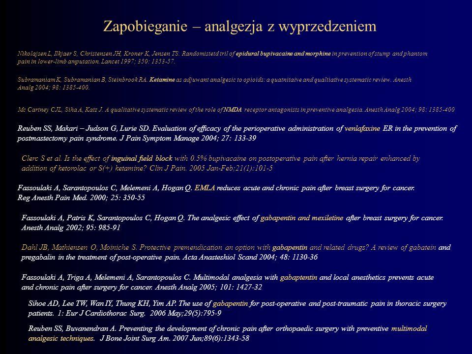 Zapobieganie – analgezja z wyprzedzeniem Nikolajsen L, Ilkjaer S, Christensen JH, Kroner K, Jensen TS. Randomistetd tril of epidural bupivacaine and m