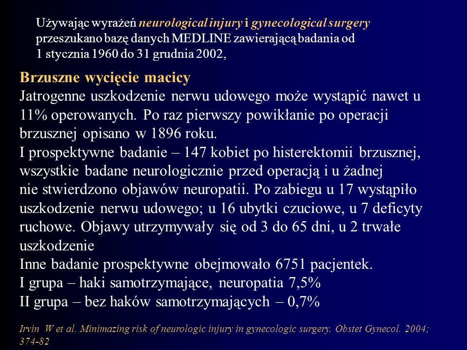Brzuszne wycięcie macicy Jatrogenne uszkodzenie nerwu udowego może wystąpić nawet u 11% operowanych. Po raz pierwszy powikłanie po operacji brzusznej