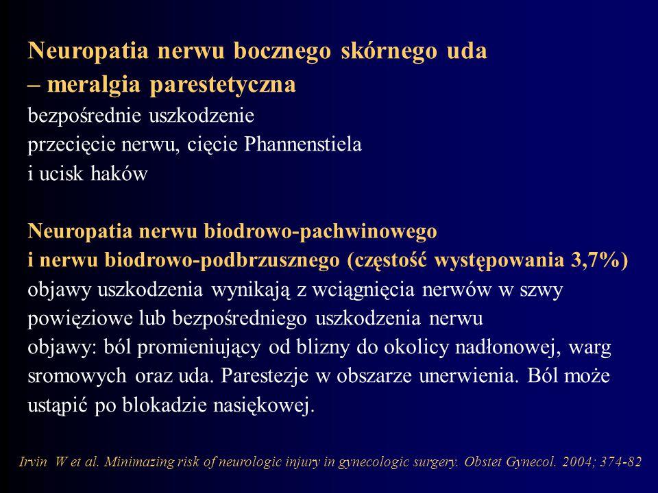 Neuropatia nerwu bocznego skórnego uda – meralgia parestetyczna bezpośrednie uszkodzenie przecięcie nerwu, cięcie Phannenstiela i ucisk haków Neuropat