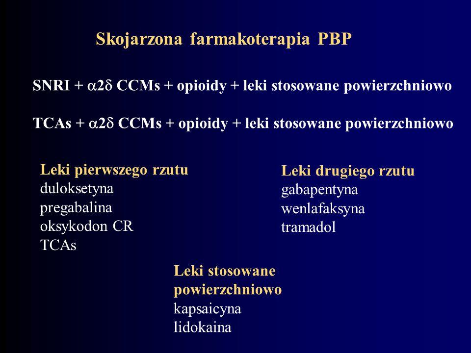 Skojarzona farmakoterapia PBP SNRI +  2  CCMs + opioidy + leki stosowane powierzchniowo TCAs +  2  CCMs + opioidy + leki stosowane powierzchniowo