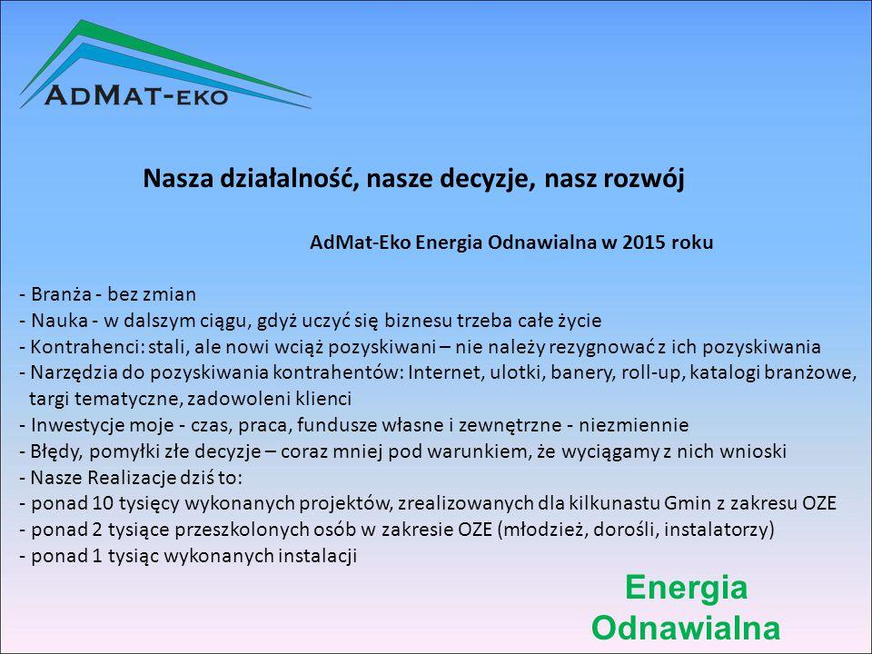 Energia Odnawialna DZIĘKUJĘ ZA UWAGĘ Adrian Piecuch AdMat-Eko Energia Odnawialna ul.