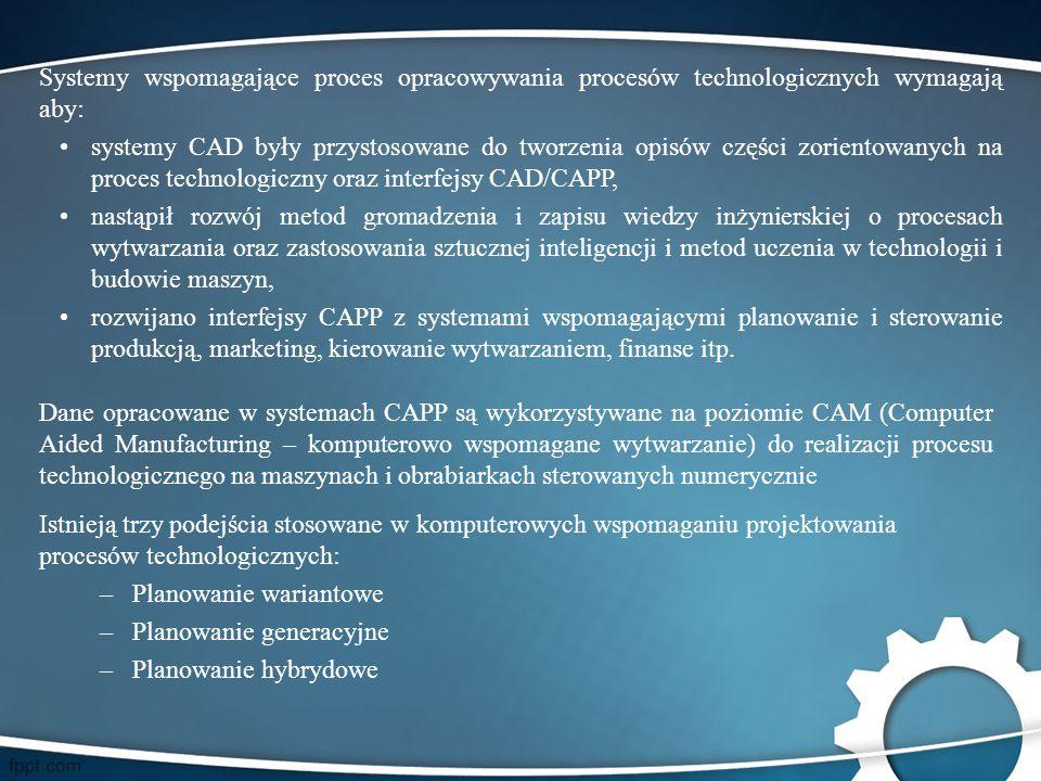 Dane opracowane w systemach CAPP są wykorzystywane na poziomie CAM (Computer Aided Manufacturing – komputerowo wspomagane wytwarzanie) do realizacji p