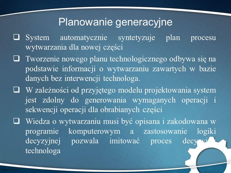 Planowanie generacyjne  System automatycznie syntetyzuje plan procesu wytwarzania dla nowej części  Tworzenie nowego planu technologicznego odbywa s