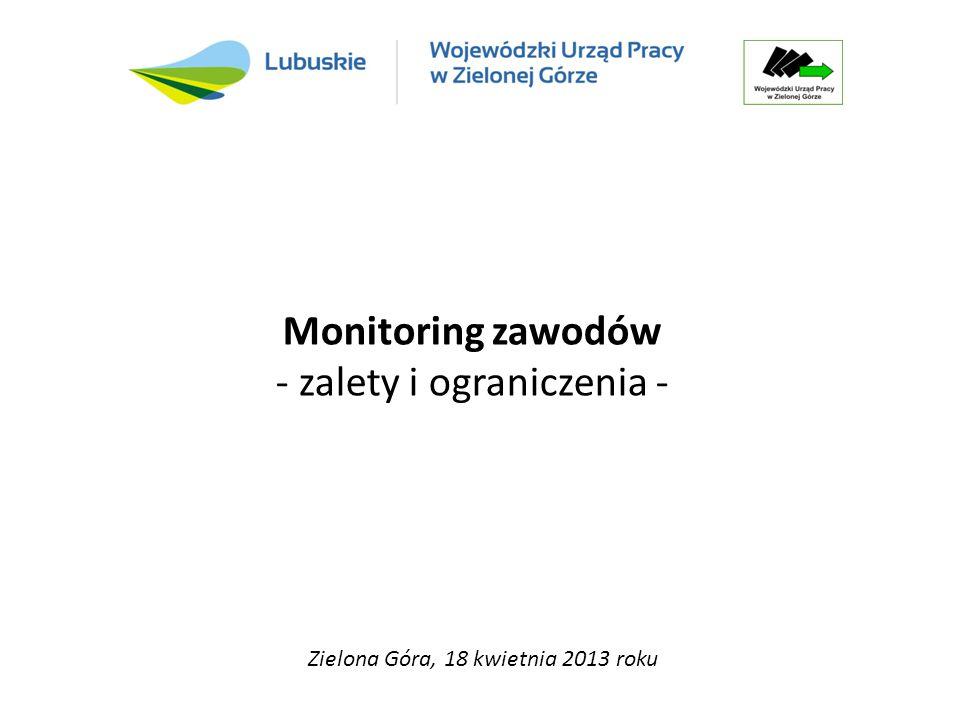 Monitoring zawodów - zalety i ograniczenia - Zielona Góra, 18 kwietnia 2013 roku