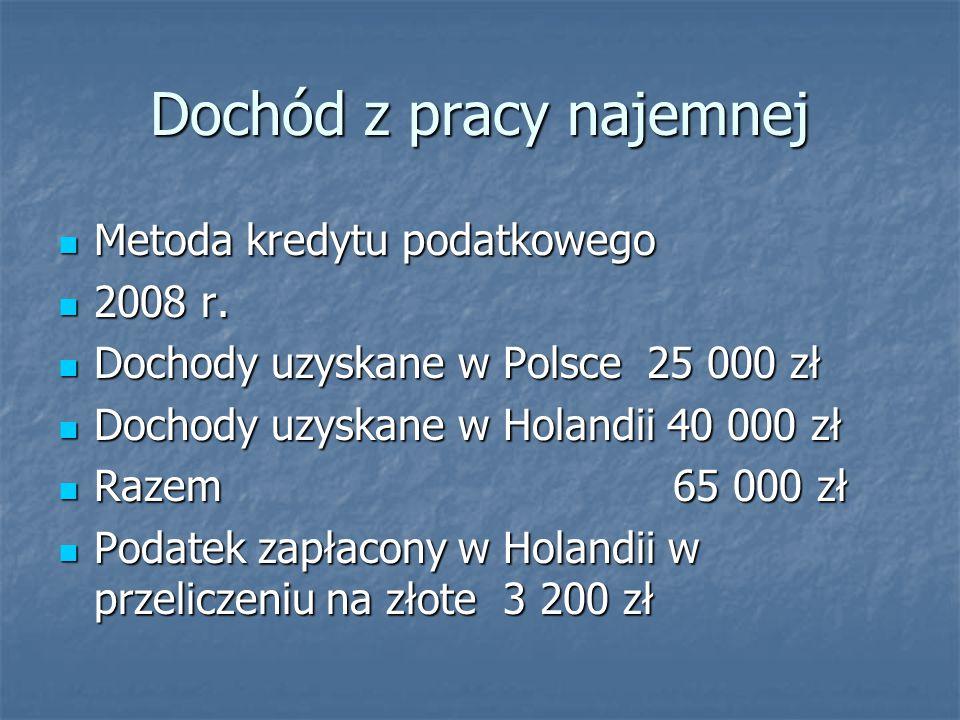 Dochód z pracy najemnej Metoda kredytu podatkowego Metoda kredytu podatkowego 2008 r. 2008 r. Dochody uzyskane w Polsce 25 000 zł Dochody uzyskane w P