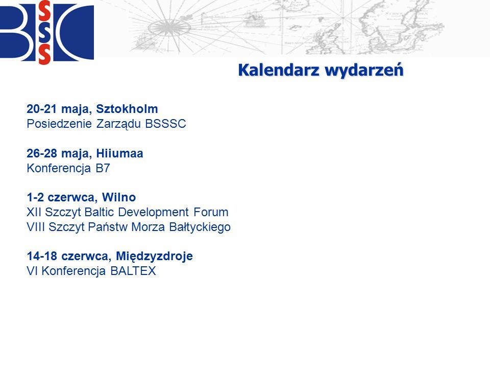 20-21 maja, Sztokholm Posiedzenie Zarządu BSSSC 26-28 maja, Hiiumaa Konferencja B7 1-2 czerwca, Wilno XII Szczyt Baltic Development Forum VIII Szczyt