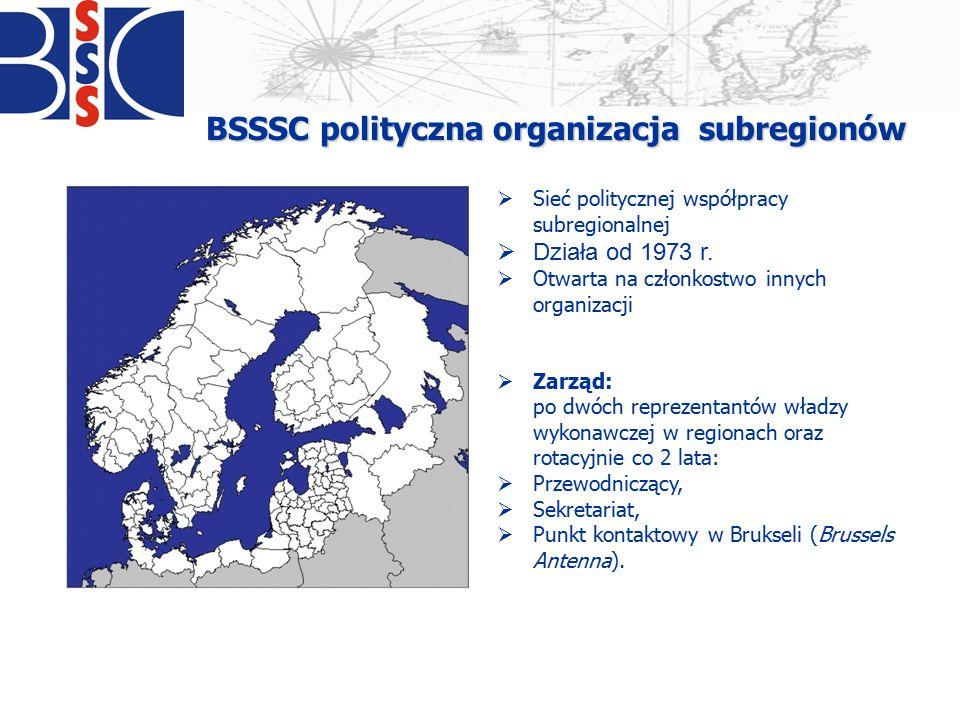 BSSSC polityczna organizacja subregionów  Sieć politycznej współpracy subregionalnej  Działa od 1973 r.  Otwarta na członkostwo innych organizacji