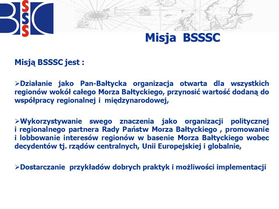 Obszary działania BSSSC  Transport i infrastruktura  Polityka Morska  Polityka spójności  Zmiany klimatyczne i zrównoważony rozwój  Zdrowie Publiczne  Strategia UE dla Regionu Morza Bałtyckiego  Edukacja i Nauka  Polityka Młodzieżowa