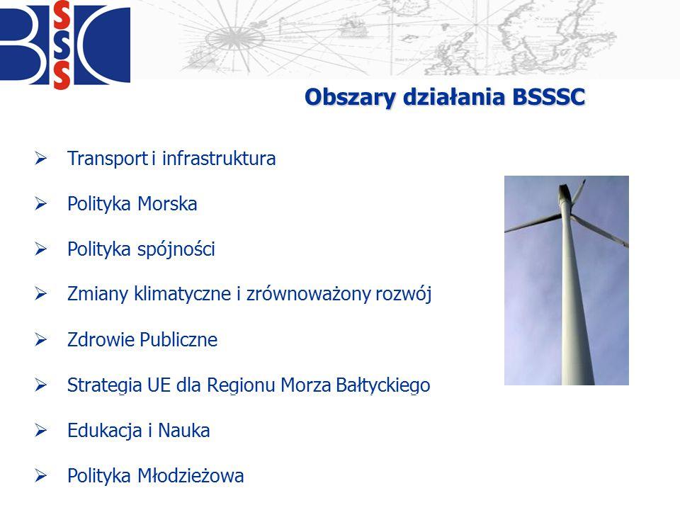 Obszary działania BSSSC  Transport i infrastruktura  Polityka Morska  Polityka spójności  Zmiany klimatyczne i zrównoważony rozwój  Zdrowie Publi