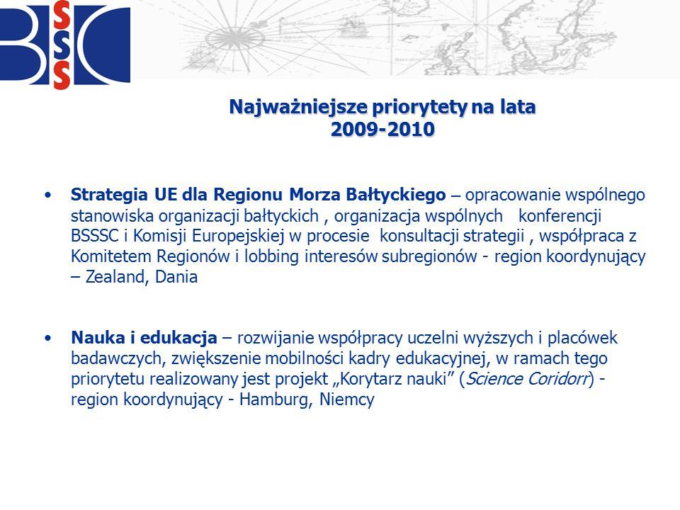 Najważniejsze priorytety na lata 2009-2010 Strategia UE dla Regionu Morza Bałtyckiego – opracowanie wspólnego stanowiska organizacji bałtyckich, organ