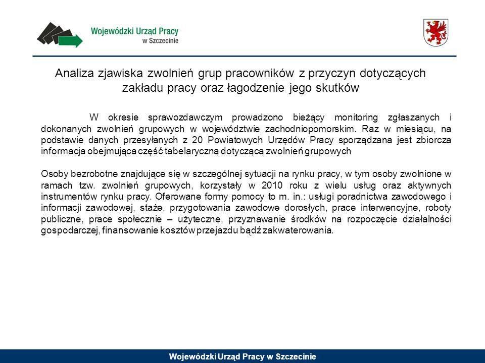 Analiza zjawiska zwolnień grup pracowników z przyczyn dotyczących zakładu pracy oraz łagodzenie jego skutków W okresie sprawozdawczym prowadzono bieżący monitoring zgłaszanych i dokonanych zwolnień grupowych w województwie zachodniopomorskim.