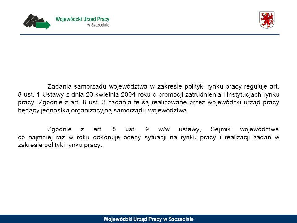 Wojewódzki Urząd Pracy w Szczecinie Zadania samorządu województwa w zakresie polityki rynku pracy reguluje art. 8 ust. 1 Ustawy z dnia 20 kwietnia 200
