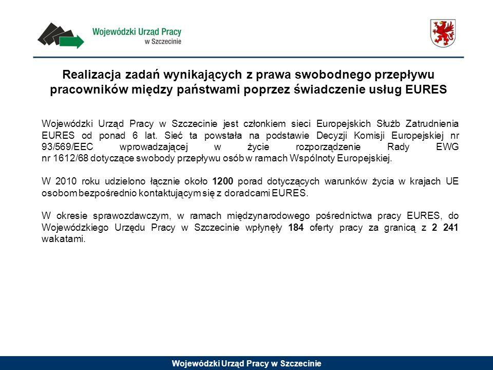 Wojewódzki Urząd Pracy w Szczecinie Realizacja zadań wynikających z prawa swobodnego przepływu pracowników między państwami poprzez świadczenie usług EURES Wojewódzki Urząd Pracy w Szczecinie jest członkiem sieci Europejskich Służb Zatrudnienia EURES od ponad 6 lat.