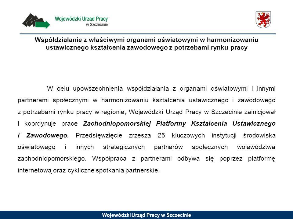 Wojewódzki Urząd Pracy w Szczecinie Współdziałanie z właściwymi organami oświatowymi w harmonizowaniu ustawicznego kształcenia zawodowego z potrzebami rynku pracy W celu upowszechnienia współdziałania z organami oświatowymi i innymi partnerami społecznymi w harmonizowaniu kształcenia ustawicznego i zawodowego z potrzebami rynku pracy w regionie, Wojewódzki Urząd Pracy w Szczecinie zainicjował i koordynuje prace Zachodniopomorskiej Platformy Kształcenia Ustawicznego i Zawodowego.