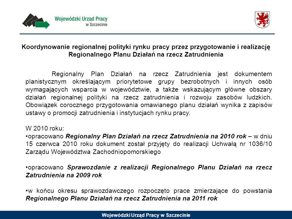 Wojewódzki Urząd Pracy w Szczecinie Koordynowanie regionalnej polityki rynku pracy przez przygotowanie i realizację Regionalnego Planu Działań na rzecz Zatrudnienia Regionalny Plan Działań na rzecz Zatrudnienia jest dokumentem planistycznym określającym priorytetowe grupy bezrobotnych i innych osób wymagających wsparcia w województwie, a także wskazującym główne obszary działań regionalnej polityki na rzecz zatrudnienia i rozwoju zasobów ludzkich.